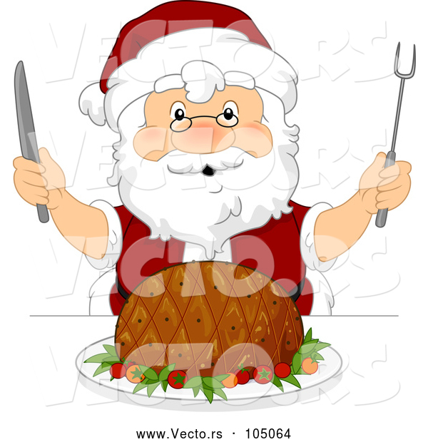 Vector of Christmas Santa Claus Ready to Carve a Ham