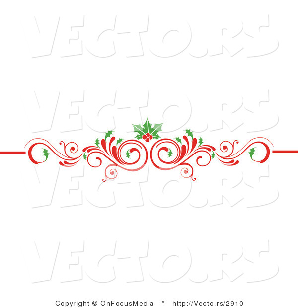 Vector of Christmas Scrolled Red Flourish Vine with Holly Leaves and Berries