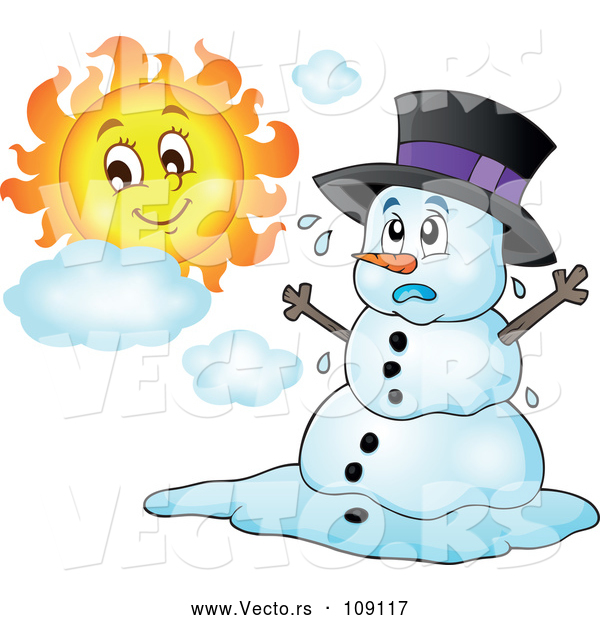 Vector of Christmas Snowman Melting Under the Shining Sun