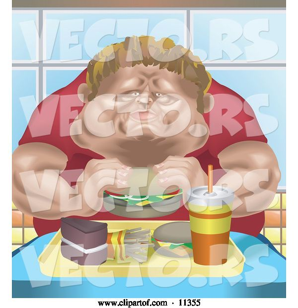 Vector of Chubby Guy Eating a Tray Full of Fast Food