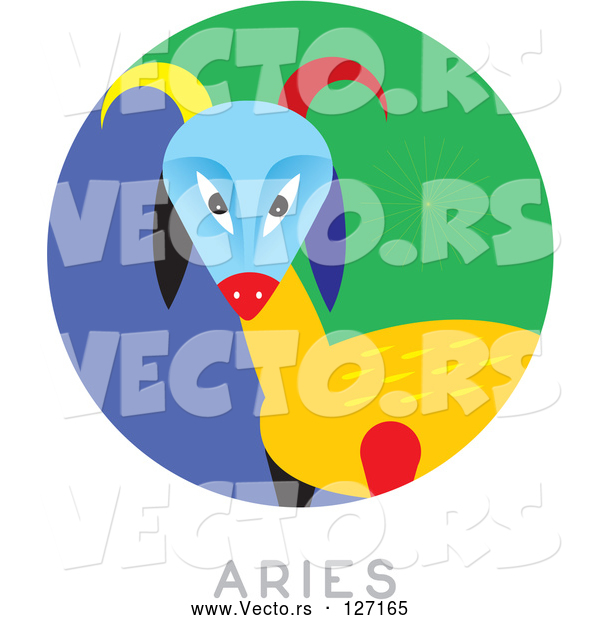 Vector of Circular Aries Astrology Scene