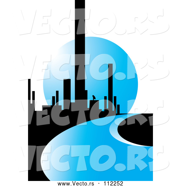 Vector of City of Skyscrapers and a Blue Road or River Against a Moon