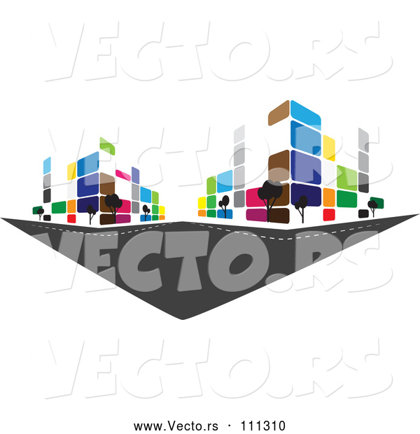 Vector of City with Colorful Urban Buildings