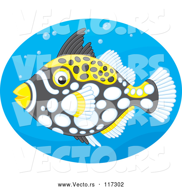 Vector of Clown Triggerfish in a Blue Oval