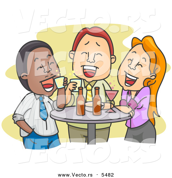 Vector of Colleagues Enjoying Drinks After Work
