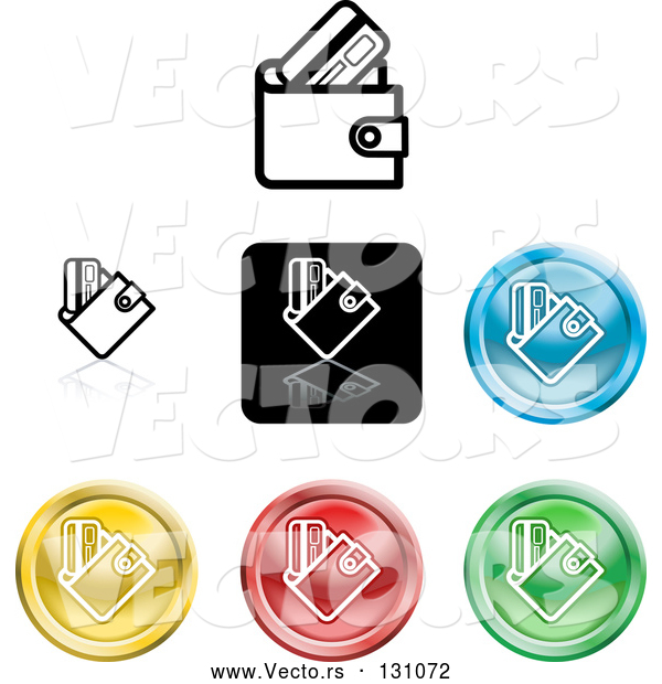 Vector of Collection of Different Colored Wallet Icon Buttons