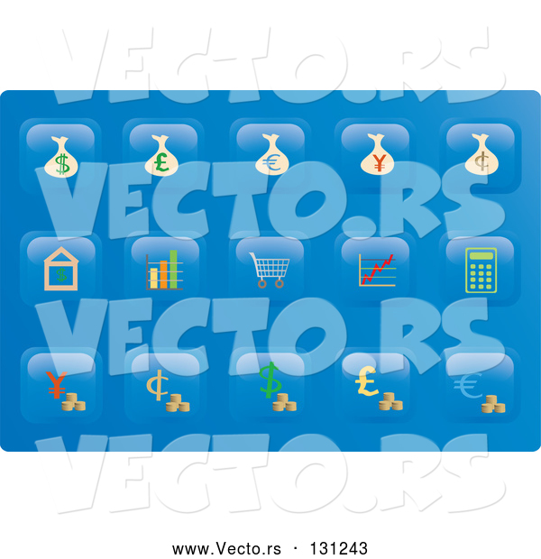 Vector of Collection of Financial Button Icons on a Blue Background