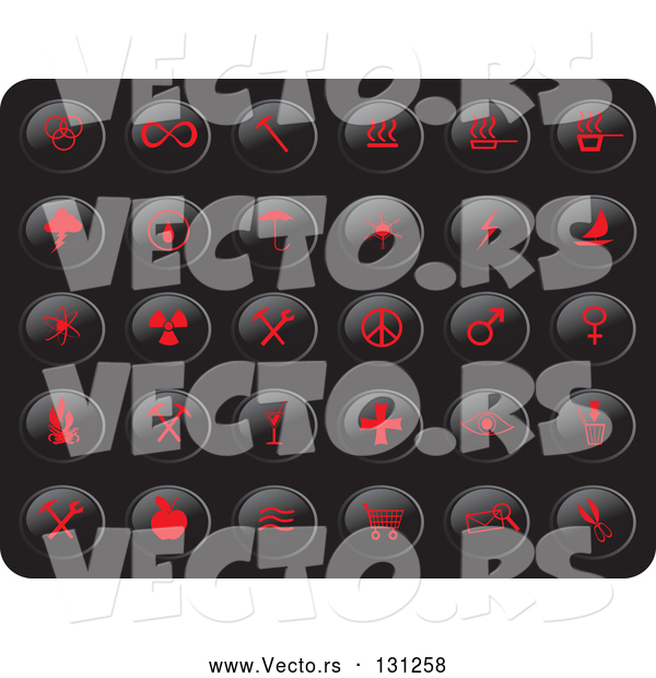 Vector of Collection of Red Misc Button Icons on a Black Background