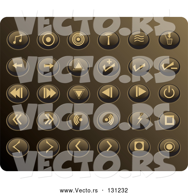 Vector of Collection of Tan Media Utton Icons on a Gold Background