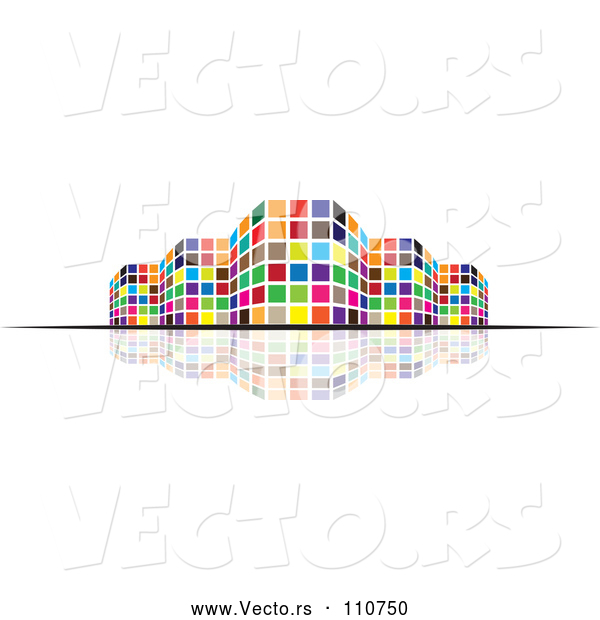 Vector of Colorful City Building and Reflection