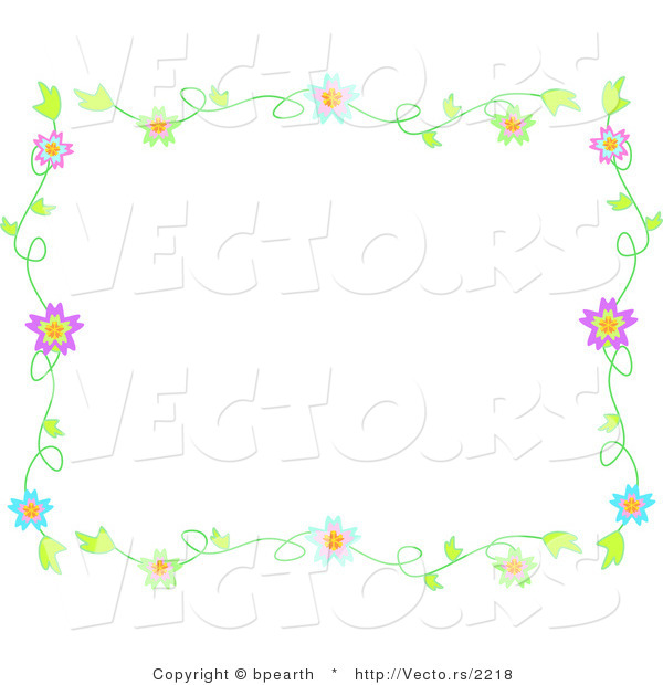 Vector of Colorful Flowering Vines - Background Border Design