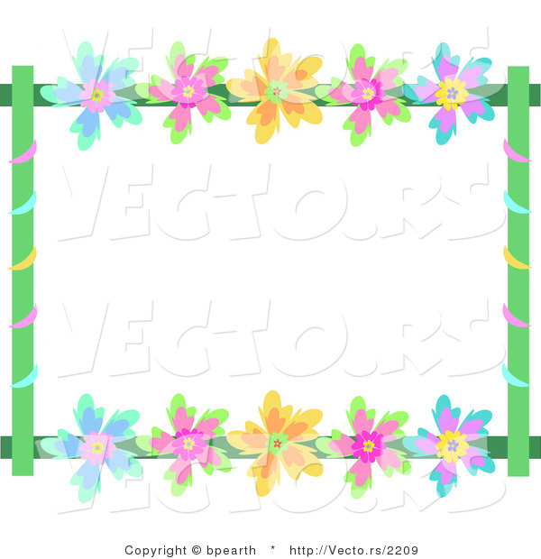 Vector of Colorful Flowers with Vines - Background Border Frame