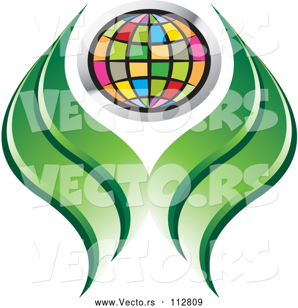 Vector of Colorful Grid Globe and Green Abstract Leaves or Hands