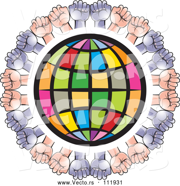 Vector of Colorful Grid Globe Encircled with White and Black Hands