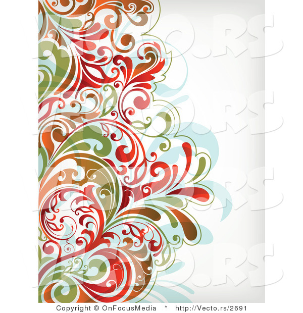 Vector of Colorful Leafy Floral Border Background