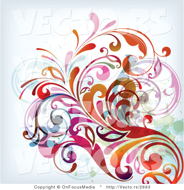 Vector of Colorful Leafy Floral Vines Background