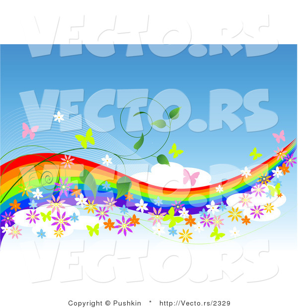 Vector of Colorful Rainbow in Blue Sky with Butterflies, Flowers and Vines - - Background Border Design Element with Copyspace