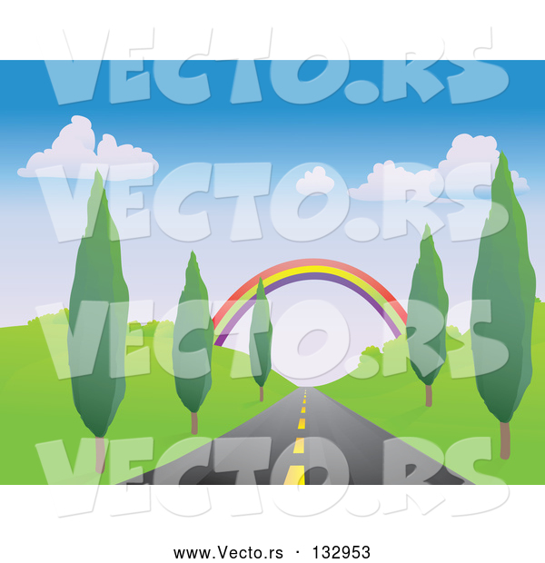 Vector of Colorful Rainbow Spanning over a Strait Tree Lined Road