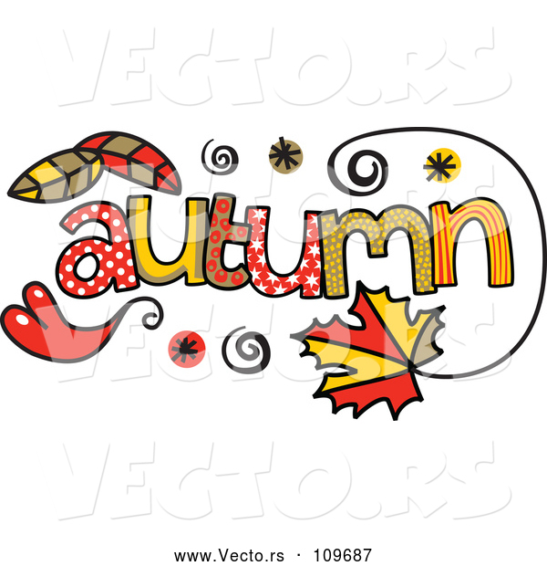 Vector of Colorful Sketched Autumn Season Word Art