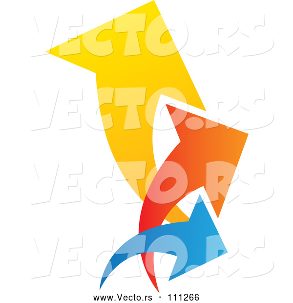 Vector of Colorful Trio Logo of Arrows Pointing up and to the Right