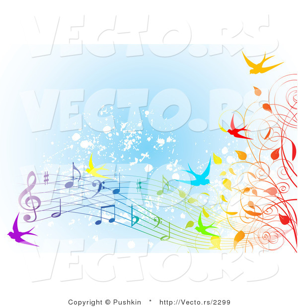 Vector of Colorfule Spring Time Swallows, Vines and Music Notes over Blue Grunge Background