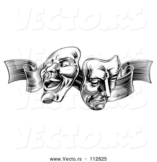 Vector of Comedy and Tragedy Theater Masks on a Ribbon - Black and White Engraved Style