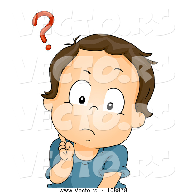 Vector of Confused Brunette White Baby Boy with a Question Mark over His Head