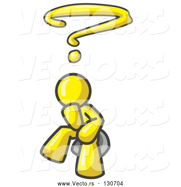 Vector of Confused Yellow Businessman with a Questionmark over His Head