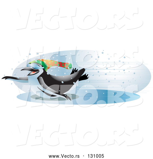 Vector of Cool and Energetic Black and White Penguin Wearing Shades and a Hat, Sliding Across an Iced over Body of Water with Speed on a Snowy Winter Day