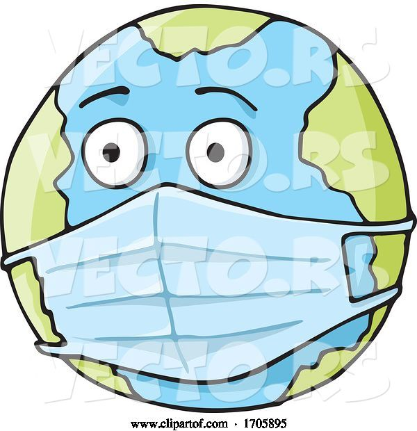 Vector of Coronavirus Covid 19 Planet Earth Wearing a Surgical Mask