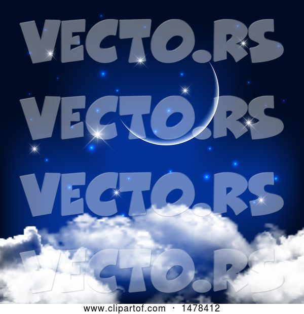 Vector of Crescent Moon and Stars over Clouds