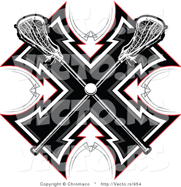 Vector of Crossed Lacrosse Sticks over a Tribal Background Design