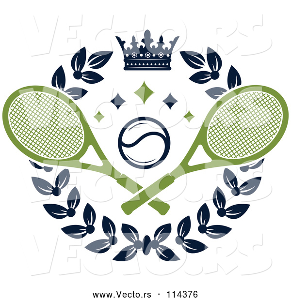 Vector of Crown and Laurel Wreath with a Tennis Ball and Crossed Rackets