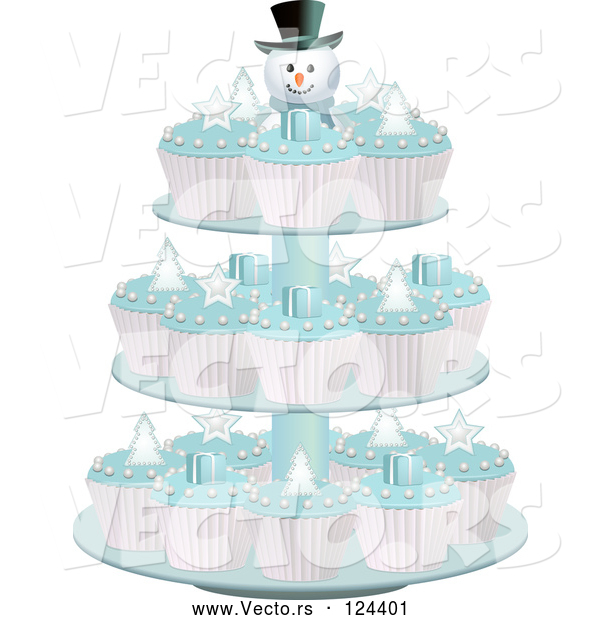 Vector of Cupcakes with Blue Icing on a Snowman Stand Display