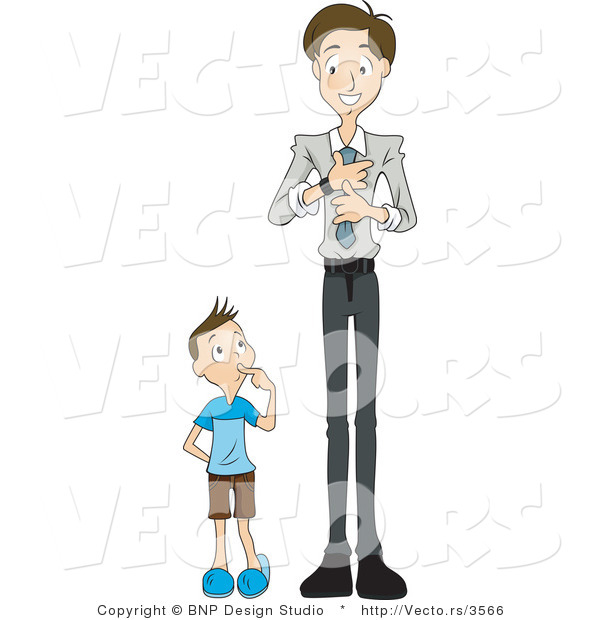 Vector of Curious Son Watching Dad Put on a Tie