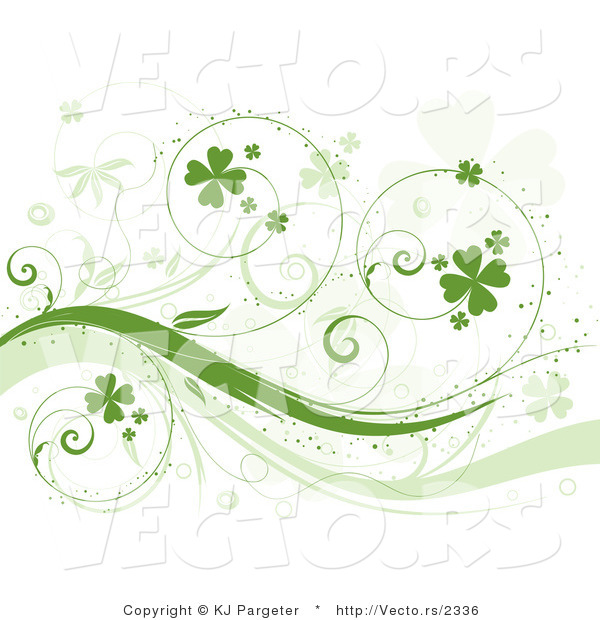 Vector of Curly Green Vines with Shamrocks - Background Design Element