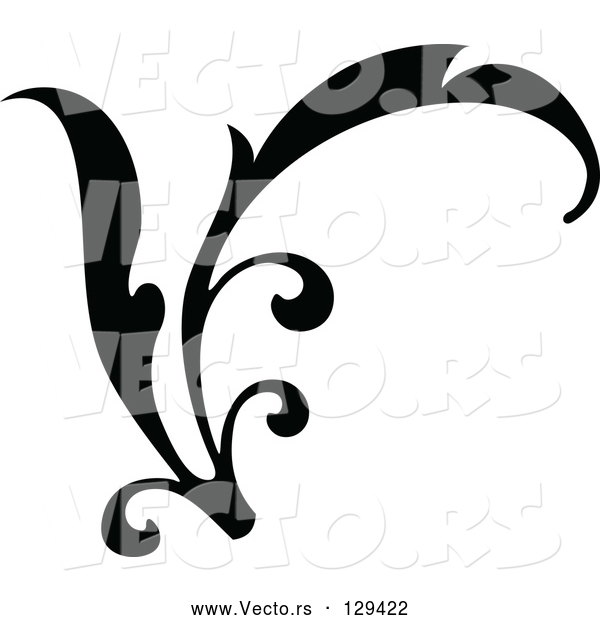 Vector of Curving Black Branch Scroll