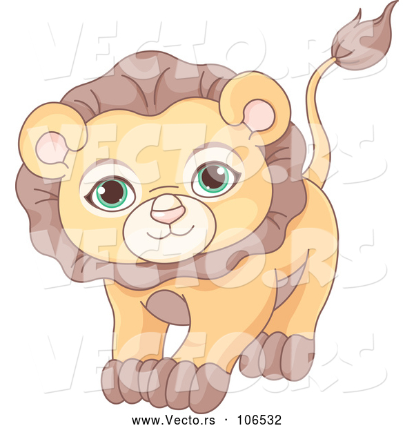 Vector of Cute Adorable Male Lion with Green Eyes