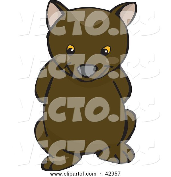 Vector of Cute and Shy Wombat with His Arms Behind His Back