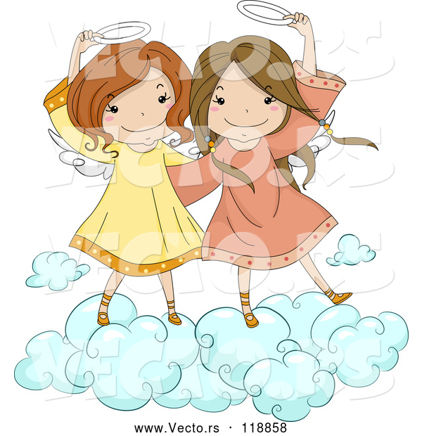 Vector of Cute Angel Girls Holding Their Halos on a Cloud