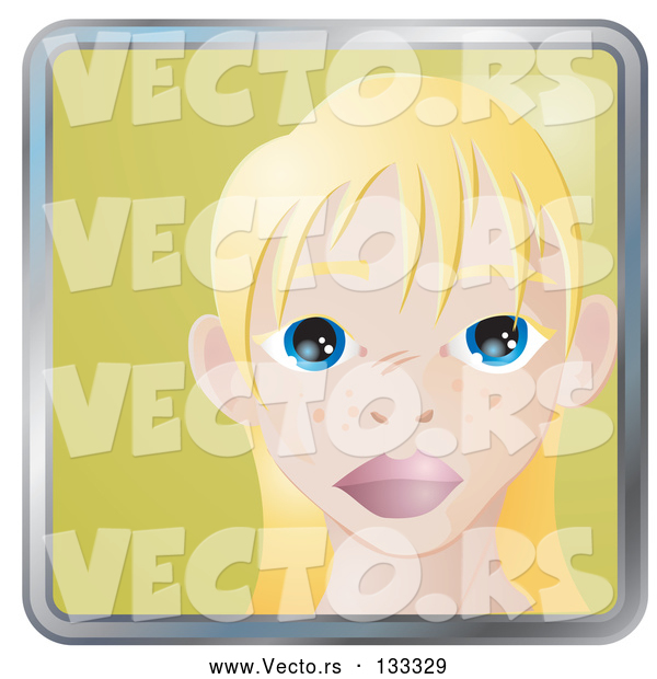 : Vector of Cute Blond Girl with Big Blue Eyes and Freckles