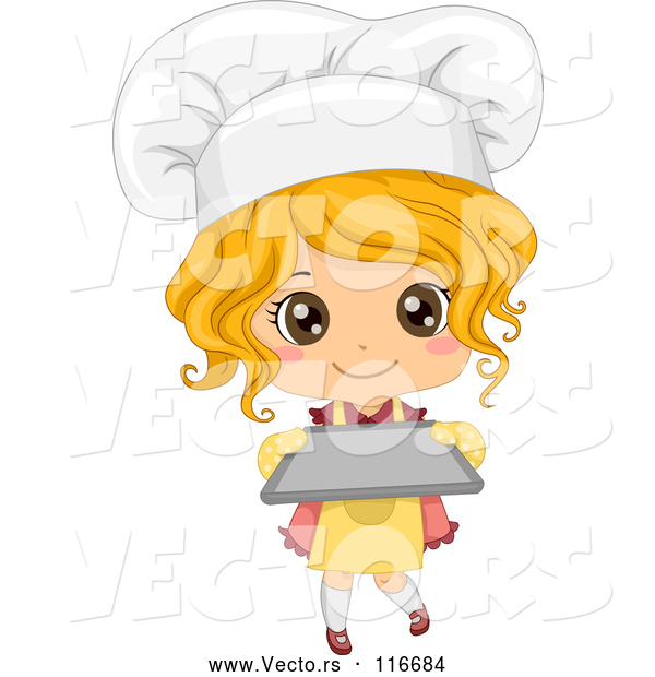 Vector of Cute Blond Toddler Chef Girl Holding a Baking Sheet