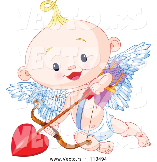 Vector of Cute Blond White Baby Cupid Flying with a Heart Arrow