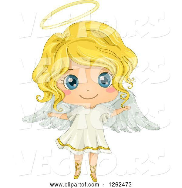 Vector of Cute Blond White Girl in an Angel Costume