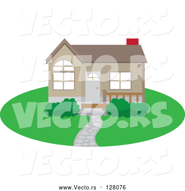 Vector of Cute Brown Home with a Path, Yard and Red Chimney