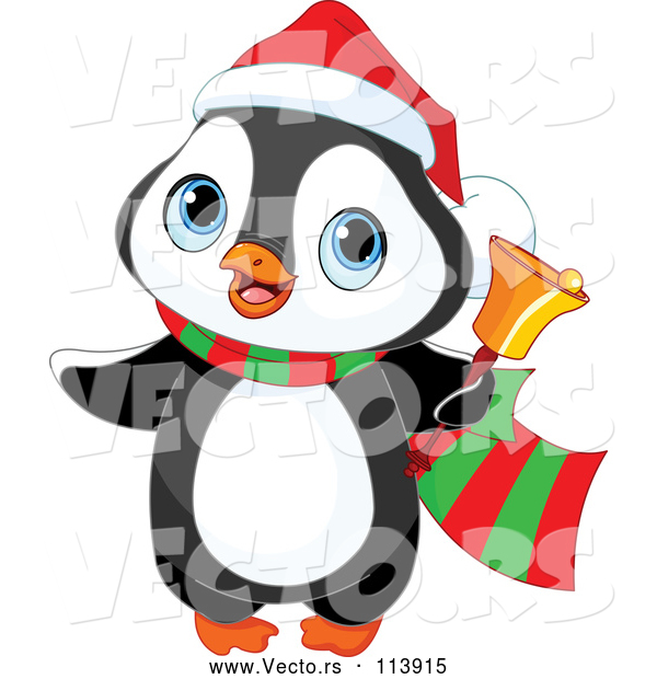 Vector of Cute Christmas Penguin Ringing a Charity Bell
