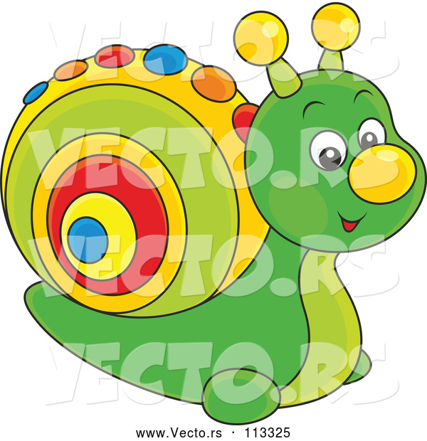 Vector of Cute Green Toy Snail with a Colorful Shell