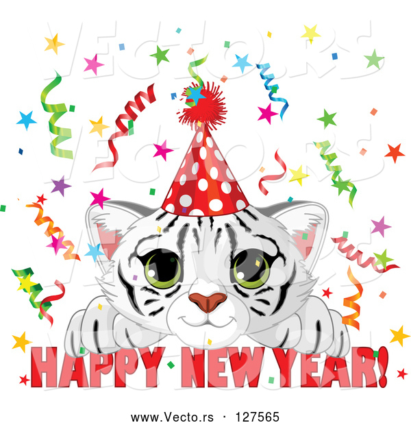 Vector of Cute White Tiger Cub Wearing a Party Hat and Looking over a Happy New Year Greeting, with Confetti