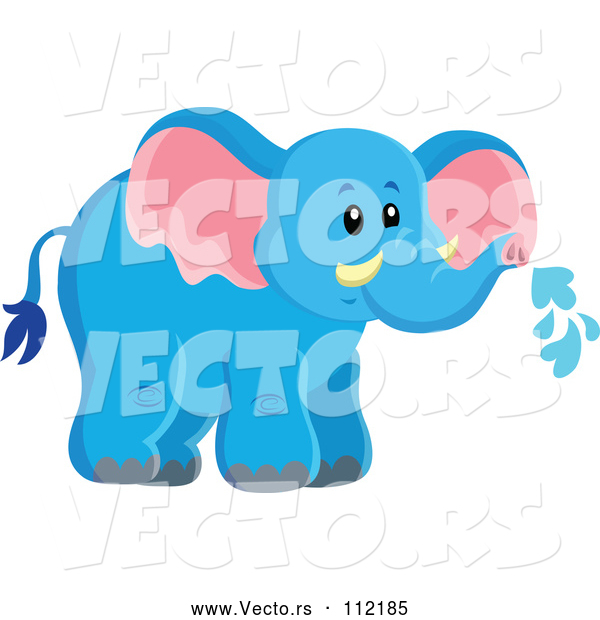 Vector of Cute Wild African Blue Elephant Spraying Water
