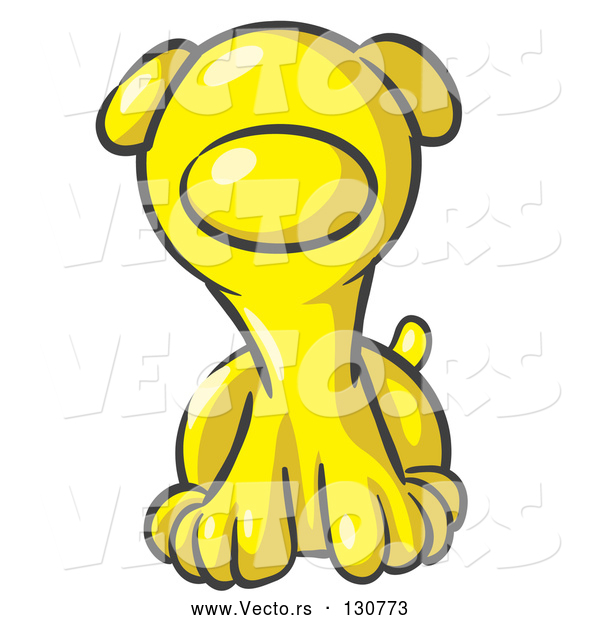 Vector of Cute Yellow Puppy Dog Looking Curiously at the Viewer